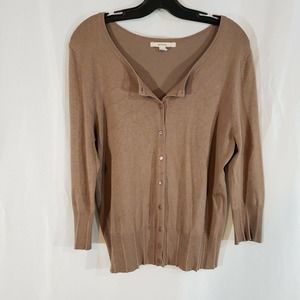 Merona L button cardigan sweater taupe smooth knit
